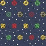 Naadloos feestelijk Kerstmispatroon met gekleurde sneeuwvlokken stock illustratie