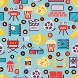 Naadloos Film en Bioskoopontwerp Als achtergrond Stock Afbeelding