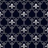 Naadloos Fleur de Lis Art Nouveau Scale-Patroon met Zilver over Stock Afbeeldingen