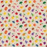 Naadloos fruit en plantaardig patroon Royalty-vrije Stock Afbeeldingen