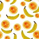Naadloos geïsoleerd waterverfvruchten sinaasappel en banaanpatroon op witte achtergrond stock illustratie