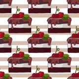 Naadloos ge?soleerd patroon met cake met kers royalty-vrije illustratie