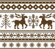 Naadloos gebreid Kerstmispatroon Stock Afbeelding