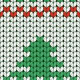 Naadloos gebreid patroon met Kerstboom Stock Afbeelding