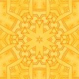 Naadloos gecentreerd hexagon geeloranje patroon Stock Afbeeldingen