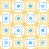 Naadloos geel patroon met bloemen in de cirkels Stock Foto's