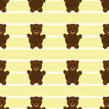 Naadloos Geel Teddy Bear Patten stock illustratie