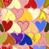 Naadloos Gekleurd Patroon met Harten St Valentine Dag of Woensdag Stock Afbeelding