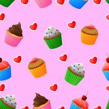 Naadloos gekleurd patroon van yummy cupcakes royalty-vrije illustratie