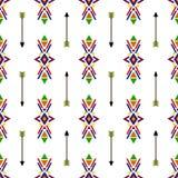 Naadloos geometrisch etnisch traditioneel Inheems het patroon uitstekend retro van Indiaannavajo vector kleurrijk ontwerp als ach Stock Afbeelding