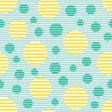 Naadloos geometrisch gestreept patroon met cirkels Stock Afbeeldingen