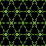 Naadloos geometrisch oranje-groen patroon met sterren royalty-vrije illustratie