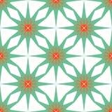 Naadloos geometrisch patroon, groene sterren op witte achtergrond Stock Foto's
