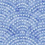 Naadloos geometrisch patroon met blauwe waterverftextuur Stock Afbeelding