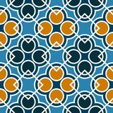 Naadloos geometrisch patroon met cirkels en vierkanten van blauwe, oranje, en witte schaduwen Royalty-vrije Stock Fotografie