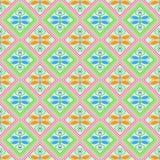 Naadloos geometrisch patroon, roze en groene diamanten Stock Foto's