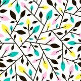 Naadloos geometrisch patroon van takjes en bladeren Royalty-vrije Stock Foto's