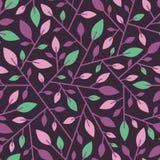 Naadloos geometrisch patroon van takjes met bladeren Stock Foto