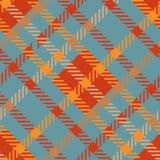 Naadloos geruit Schots wollen stof vectorpatroon gestreept donkeroranje blauw plaidpatroon Stock Foto