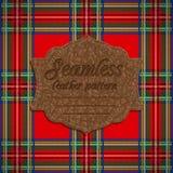 Naadloos geruit Schots wollen stofpatroon en etiket met naadloze leertextuur Royalty-vrije Stock Fotografie