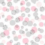 Naadloos gestippeld patroon met roze en grijze cirkels stock illustratie