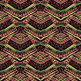 Naadloos gestreept bloemen geometrisch patroon In druk met colo royalty-vrije stock afbeelding