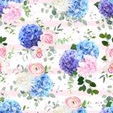 Naadloos gestreept en gestippeld vector bloemenpatroon royalty-vrije illustratie