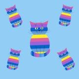 Naadloos gestreept patroon met katten Stock Afbeeldingen