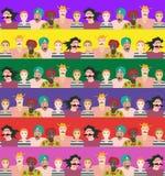 Naadloos gestreept patroon met mannen en vrouwen van verschillende leeftijden, rassen en nationaliteiten vector illustratie