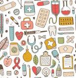 Naadloos gezondheidszorg en geneeskundeschetspatroon royalty-vrije illustratie