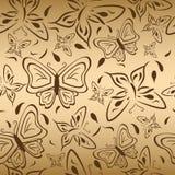 Naadloos goud backgro?nd met vlinders Stock Afbeelding