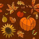 Naadloos gouden de herfstpatroon stock afbeeldingen