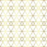 Naadloos gouden lijn geometrisch patroon Achtergrond met ruit, driehoeken en knopen Gouden textuur royalty-vrije illustratie