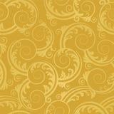 Naadloos gouden wervelingen en bladerenbehang Royalty-vrije Stock Afbeeldingen