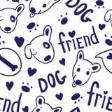 Naadloos grappig vectorpatroon met leuke honden in schetsstijl Stock Foto's