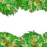 Naadloos greenlhand getrokken bloemenornament vector illustratie