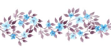 Naadloos grenslint - hand geschilderde aquarelle bladeren Herhaald patroon vector illustratie