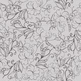 Naadloos grijs bloemen zwart-wit patroon Stock Fotografie