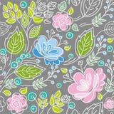 Naadloos grijs patroon, blauwe, roze bloemen, groene bladeren, wit overzicht Royalty-vrije Stock Afbeelding
