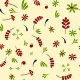 Naadloos groen patroon hohloma-Rood stock fotografie