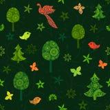 Naadloos groen patroon met feebomen, vlinders en vogels vector illustratie