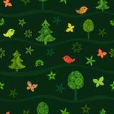 Naadloos groen patroon met feebos op heuvels royalty-vrije illustratie