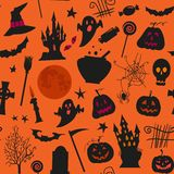 Naadloos Halloween-patroon met, kastelen, kaarsen, pompoenen, hefboomo lantaarn en andere simbols Royalty-vrije Stock Foto