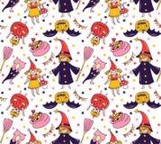 Naadloos Halloween-patroon met kinderen in kostuums Heks en pompoenachtergrond Stock Fotografie