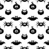 Naadloos Halloween-patroon met pompoen, uil, knuppel en spin ove Royalty-vrije Stock Foto's