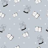 Naadloos hand-drawn patroon met boeken en koffiekoppen Royalty-vrije Stock Afbeelding