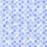 Naadloos hand getrokken die waterverfpatroon van ronde blauwe punten, over wit wordt gemaakt Stock Foto