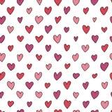 Naadloos hand getrokken hartenpatroon Stock Afbeeldingen