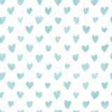 Naadloos hand getrokken hartenpatroon in blauw waterverfeffect Stock Afbeelding
