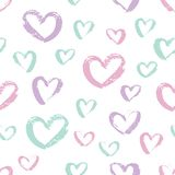 Naadloos hand getrokken hartenpatroon Kleurrijk Inktontwerp voor t-shirt, kleding, doeken Stock Foto